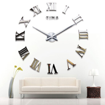 Harga GETEK DIY 3D Wall Clock Roman Numerals Large Size Mirrors Surface Luxury Art Clock (Gold)