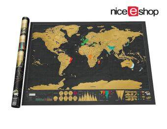 Harga niceEshop Novelty World Map Educational Scratch Off Map Poster Travel Map Wall Map (Black)