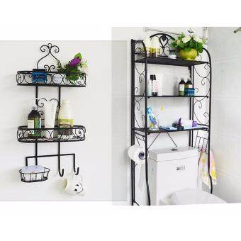 Harga 2 in 1 set - 3 Tier Space-saving Storage rack Plus Bathroom rack - Black