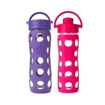 Harga Lifefactory Glass Bottle - Bundle - 16oz (465ml) Classic Cap (Royal Purple) & 16oz (465ml) Flip Cap (Raspberry)