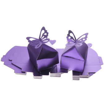 Harga 50PCS Butterfly Candy Gift Boxes Baby Shower Wedding Party Favor Purple