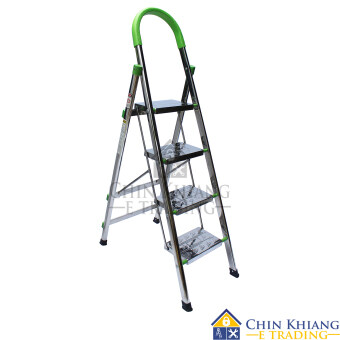 Harga PRO P04 Full Stainless Steel Household Platform Ladder 4 Steps