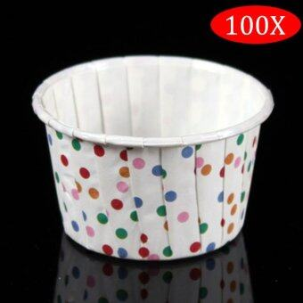 Harga PAlight 100Pcs Round Shape Paper Muffin Cases Cake Cupcake Bakeware Maker Mold (color:Colours Dot)