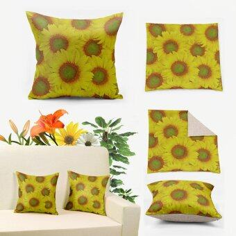 Harga Yellow Sunflower 3D Print Linen Pillow Covers 55x55cm, Cushion Cover for Sofa Decorative Pillow Case Cheap Z696