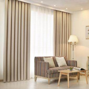 Harga 1 Piece Curtain set -Extra Thick Elegant Curtain- Beige - French Pleat - Free Curtain Rope and Hooks