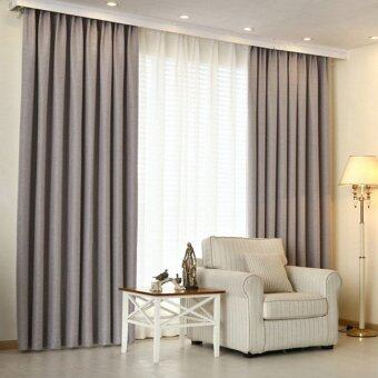 Harga 2 Pcs Set - Extra Thick Elegant Curtain - Ligth Grey - 130 x 200 cm - French pleat - Free curtain Hooks & rope
