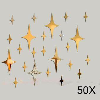 Harga 50 Pcs Star Shape 3D Acrylic Wall Stickers Living Room Ceiling Mirror Decoration color:8cm size:Golden