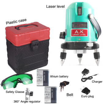 Harga High Power Outdoor 360 rotary Green laser level self levelling 2 line 2 point 18mw Cross level laser 110-240V