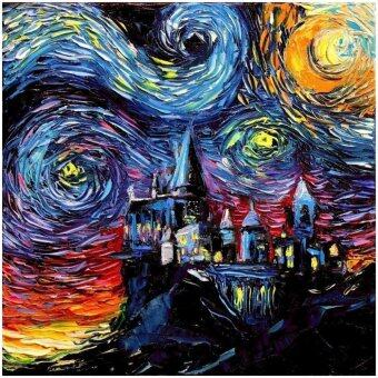 Harga Harry Potter Inspired Art - Fabric scroll poster PRINT - Starry Night Hogwarts Castle