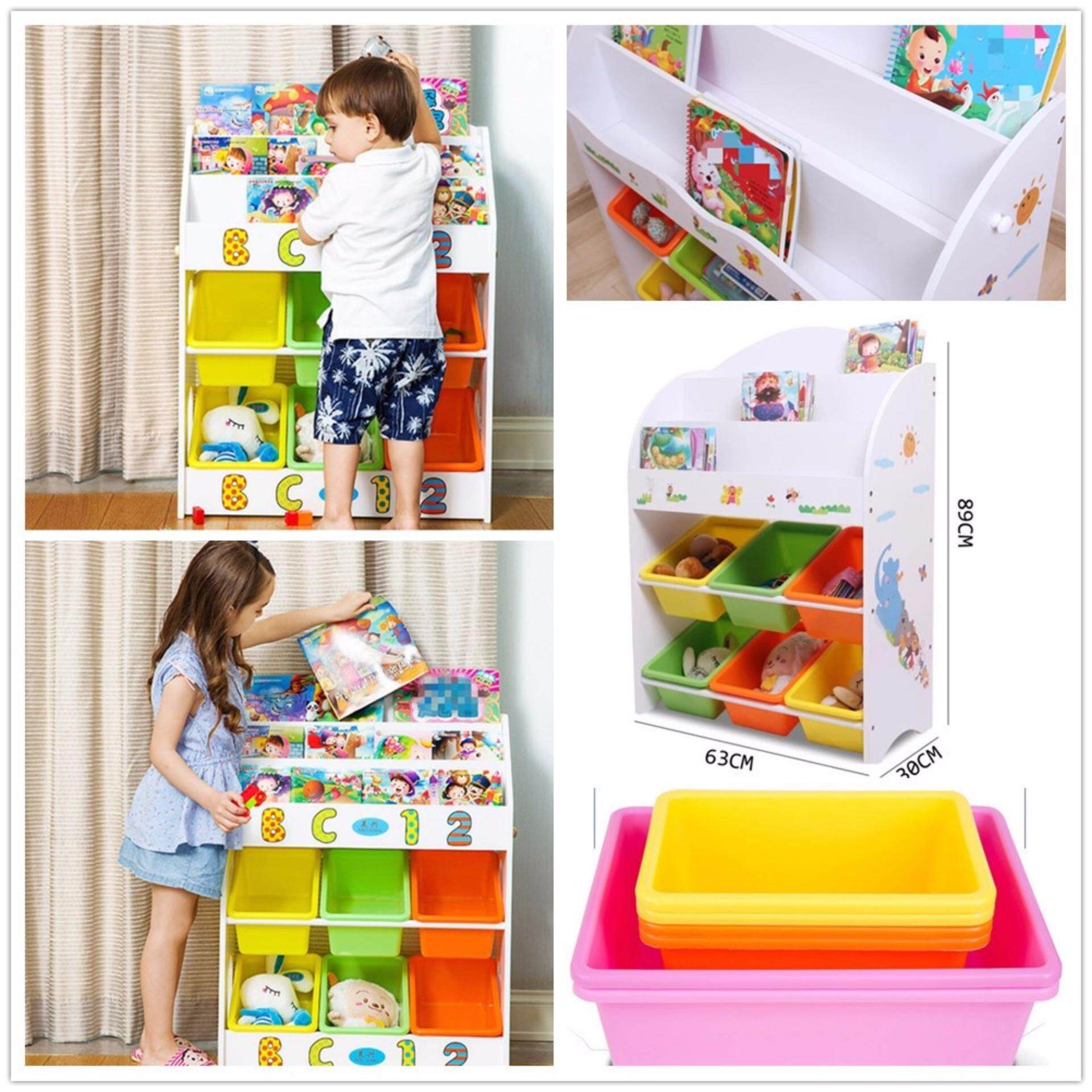 Kids Wooden Toy And Book Storage Shelf 3 Level Childrens Bookcase Bookshelf  Small Size ...