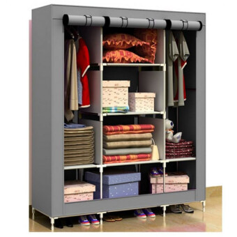 King Size Multifunctional Wardrobe Grey (2 Units)