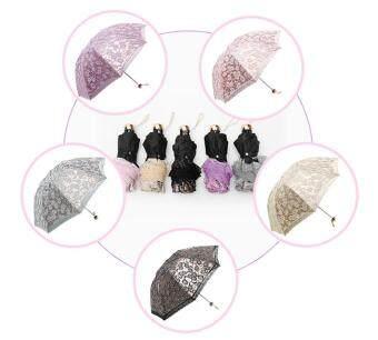 ... kobwa Compact Lace Wedding Parasol Folding Travel Sun Umbrella UV Block (Gray) Malaysia