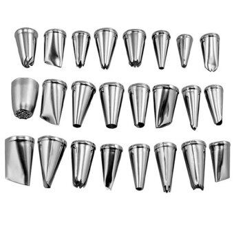 Leegoal Stainless Steel Cupcake Cake Puff Decorating Icing Nozzles Piping Sugarcraft Pastry Tips Tool Set (24pcs)