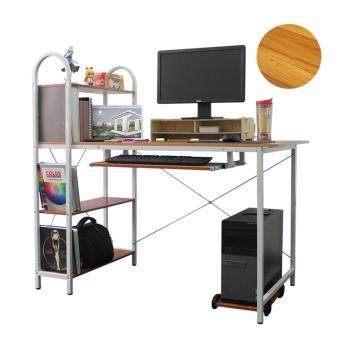 LivingCabinet Wooden Computer Table with Storage Rack PC Stand(Brown)