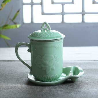 Longquan celadon with lid filter personal cup Kung Fu tea
