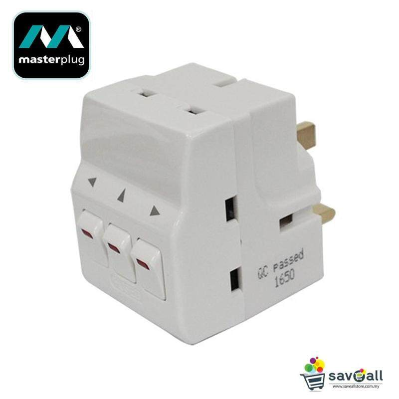 MasterPlug 3-Pin Adapter with Universal Adapter and 3 Individual Control Switched (MSWG3-MPA)