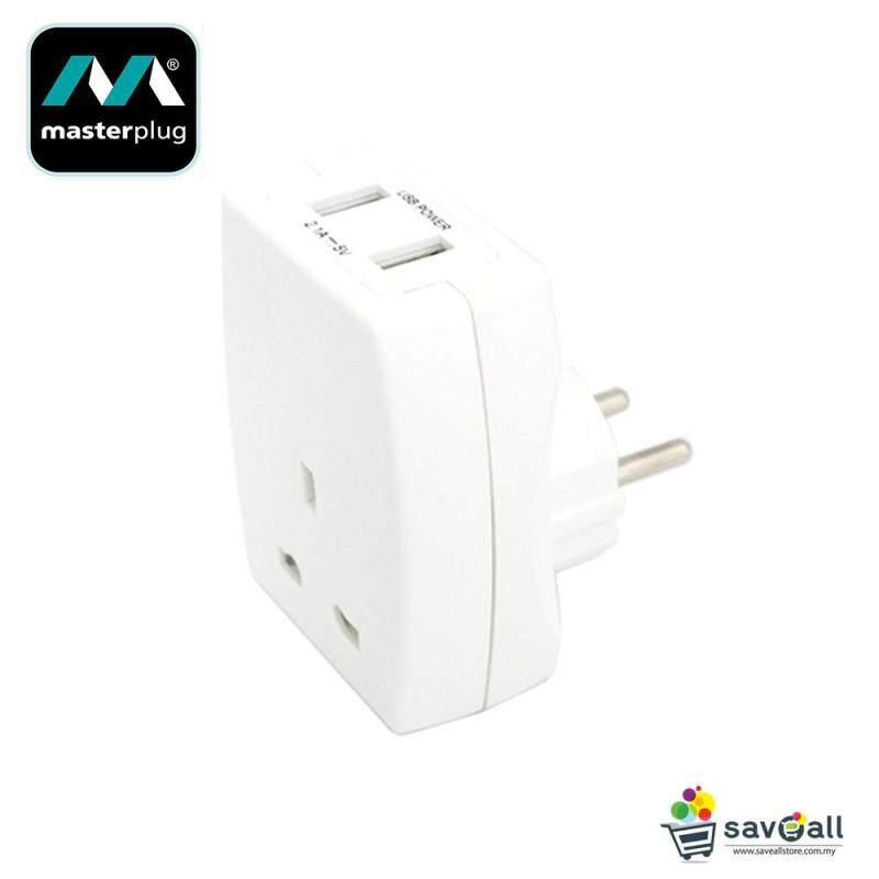 MasterPlug UK to EU Plug Through With 2.1A USB Charger (TAUSBEUR2-MP)