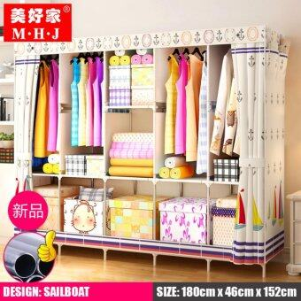 MHJ 218-S [NP70] High Quality Steel Frame Wardrobe Side Open DIY Modern Multifunctional Cloth Wardrobe (King Size) - Sailboat