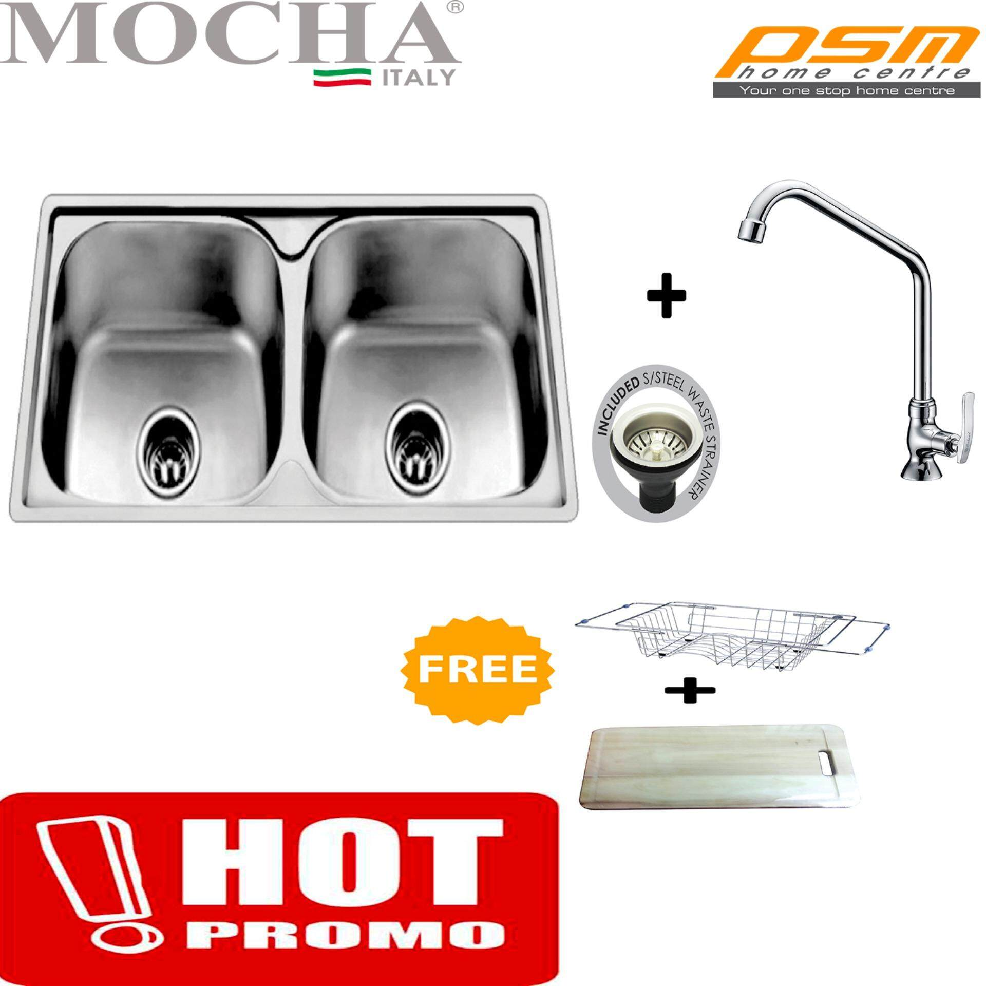 Mocha Stainless Steel Double Bowl Kitchen Sink MAP8050A, Kitchen ...