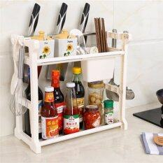 Multifunctional Rack Double Layer Kitchen Organizer Rack With Side Hook