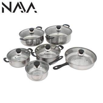 Harga NaVa 12 PCS Kitchen Stainless Steel Wok Pan Set with Tempered GlassCover