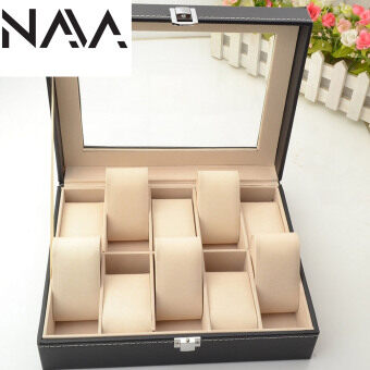 Harga NaVa High Quality Fine PU Leather 10 Slot Watch Jewellery Storage Container Box