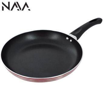 Harga NaVa High Quality Non Stick 24 CM Thick Stainless Steel FryingCooking Wok Pan (RED)