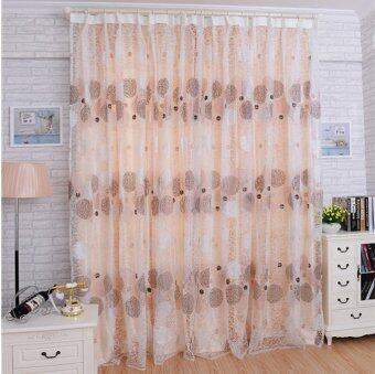 Nest Floral Voile Door Curtain Window Room Curtain Divider Scarf Excellent Coffee-