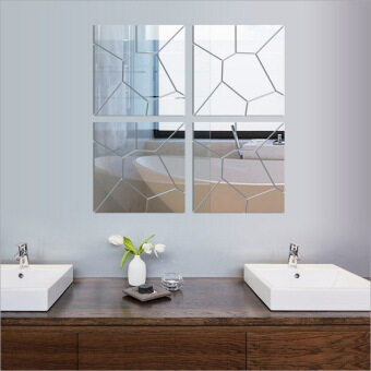 Harga New 3D Mirror Wall Mirror Wall Geometry Trade Acrylic DecorationRoom Mid
