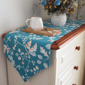 Nordic Flowers Pastoral Plain Weave Blue Tablecloth Fabric Linen TVcabinet Tablecloth  Fabric Table Runner Coffee Table