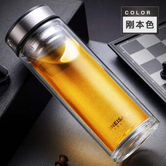 ONE IS ALL 500ml Double Wall Stronger Glass Classic Water Bottle 600g