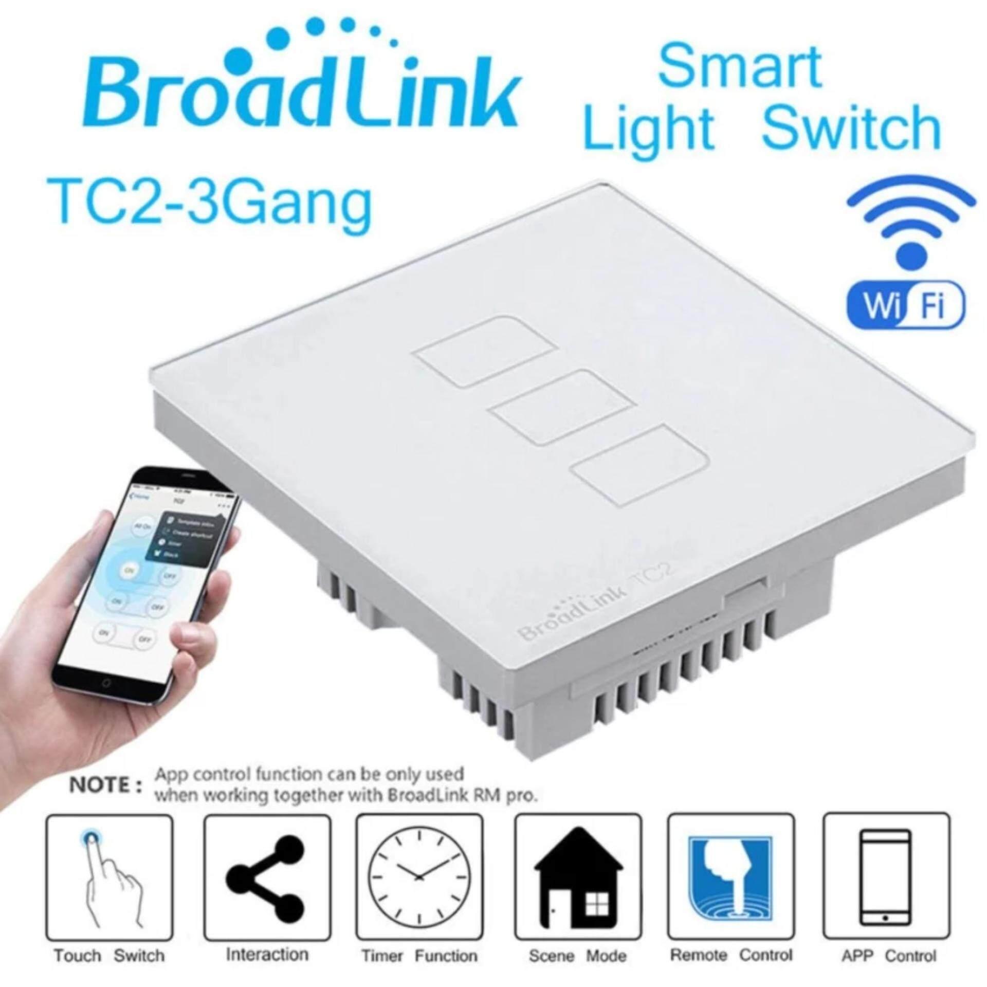 Original Broadlink Tc2 3 Gang Smart Home Automation Mobile Wireless Light Switch Uk Buy Remote Control