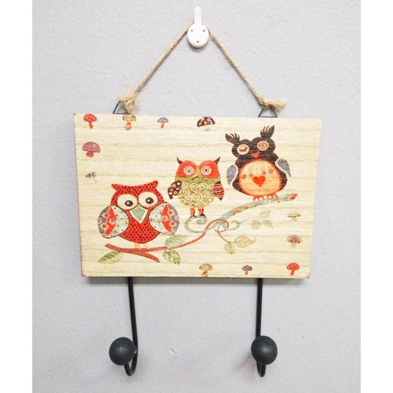 Owl Wooden 2 Hook - 3 Owls