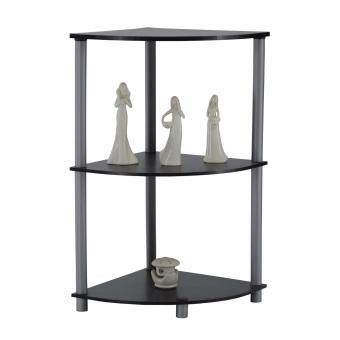 Pamica Flexipole 3-Shelf Corner Rack (Black Oak)