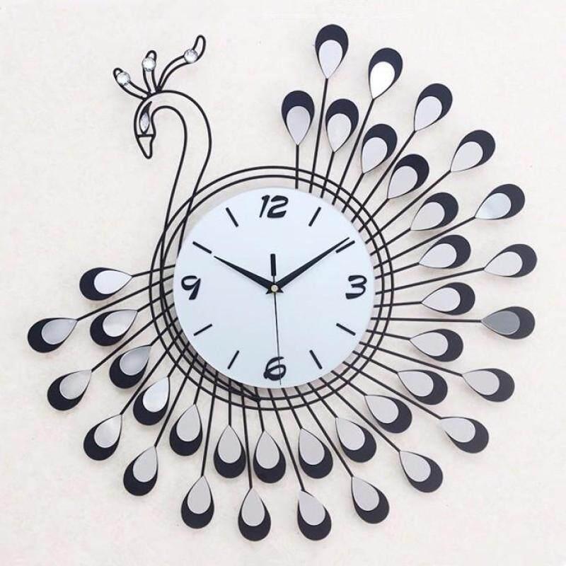 Buy Peacock fashion acrylic wall clock living room creative mute decorative clock Malaysia