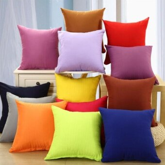 "Harga Plain Dyed Cushion Cover Chemical Fiber Fabric Pillow Case 16"" x16"" Blue"