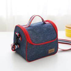 portable insulated denim lunch bag thermal food picnic bags for women kids men cooler lunch box bag tote 22516195cm