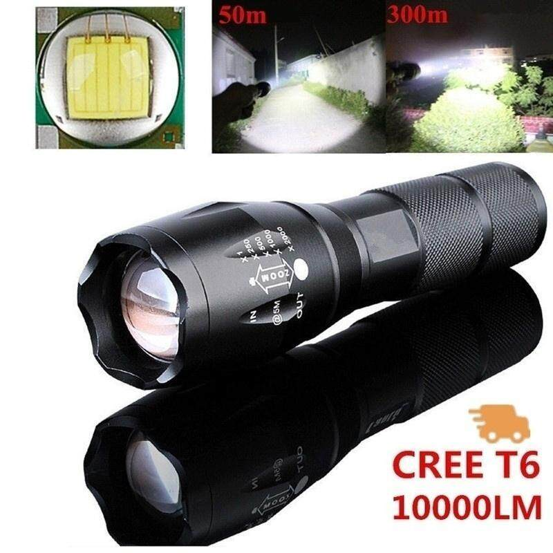 Harga Powerful 10000LM CREE T6 LED Flashlight 5 Mode Zoomable Waterproof Torch Outdoor Sports Camping Hiking (Color: Black)