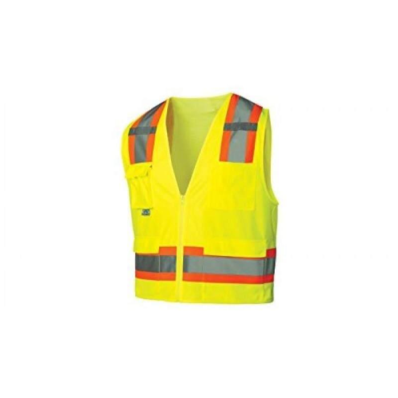 Pyramex RVZ2410XL Lumen X Class urveyors Safety Vest with 8 Pockets, , Hi-Vis Lime