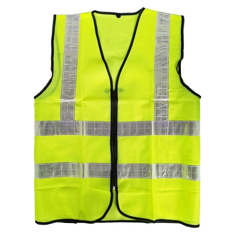 Reflective Vest in Fluorescent Green with Zip and 4 High Reflective Strips