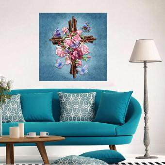 Sell religious embroidery 5d diamond painting diy flower for Best brand of paint for kitchen cabinets with cross stitch wall art