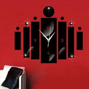 Removable 3D DIY Black Watch Clock Mirror Wall Sticker DecorativeWatch Clock Home Decor ,50*60cm