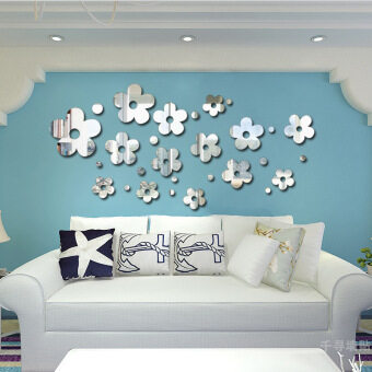 Removable Acrylic Mirror 14 Flowers Mirror Wall Room TV Background Wall Decoration Mirror Stickers