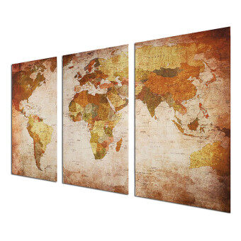 Retro World Map Framed Picture Canvas Print Wall Art Painting Ready To Hang - 4