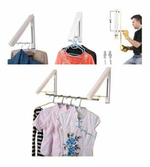 Rising Bazaar Foldable Bathroom Accessories Wall Mounted ClothesHolder Laundry Hanger (2PCS)