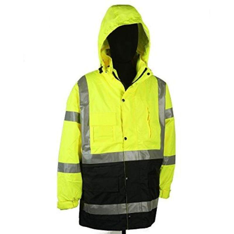 Safety Depot Two Tone Lime Yellow Black Reflective Class 3 Safety Parka Jacket With Zipper and Pockets 736c-3 (Medium)