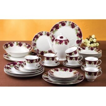 Satinni 33 pcs Regent Rose Fine Porcelain Dinner Set SM 17-6459Q-33