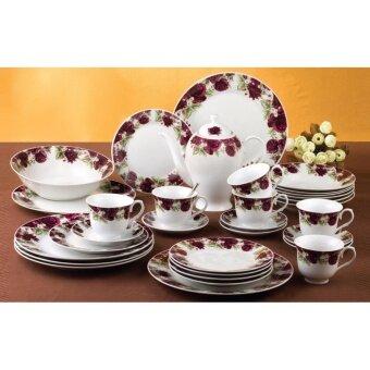 Satinni 33 pcs Regent Rose Fine Porcelain Dinner Set SM 17-6459Q-33