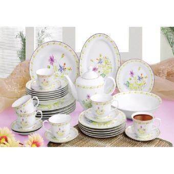 Harga Satinni 34 pcs Fine Porcelain Dinner Set SM 32-005-34