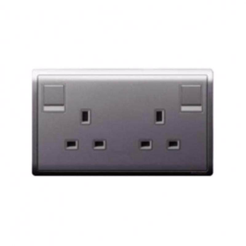 Schneider Pieno  13A 250V Twin Gang Switched Socket, Silver